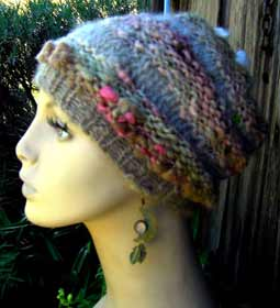 Hats now in stock lisas handspun designs mostly cotton lumpy knit hat with blends of cottonsilk woolcottonsilk pink mohair curls loose fit one size fits all 70 sold mightylinksfo